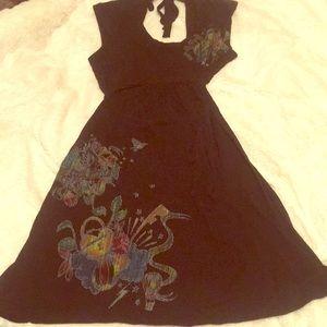 Black baby doll dress with rainbow prints